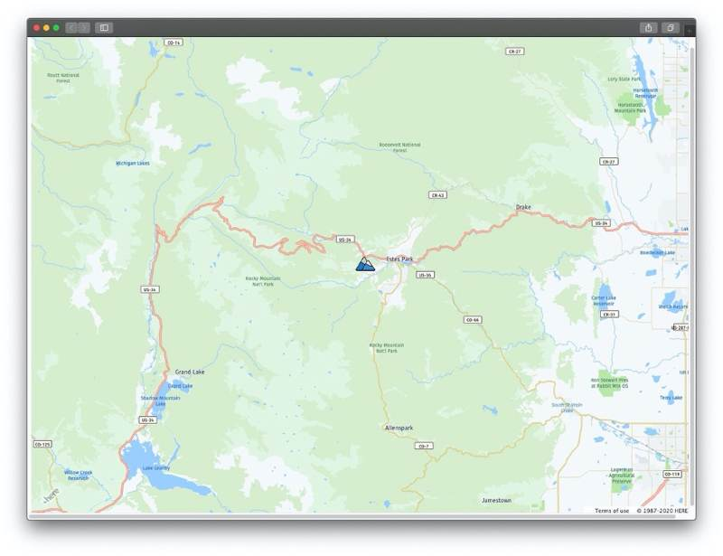 ADCI MAP of Rocky Mountain National Park> <p>The HERE Maps API for JavaScript gives you a practical and versatile solution for map customization that improves the user experience. <a href=